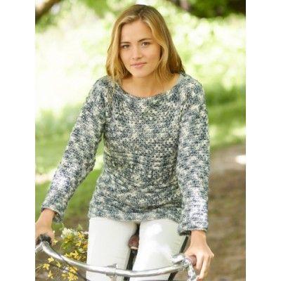 Ridge Sleeve Crochet Pullover - Free Easy Women\'s Sweater Crochet ...