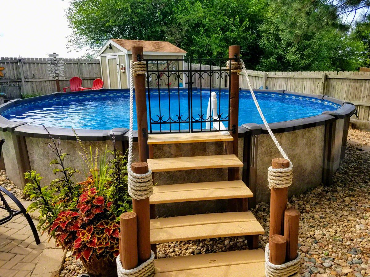 Pin By Jade Mcdonald On Outdoor Living In 2020 Diy Swimming Pool Above Ground Pool Landscaping Pool Steps