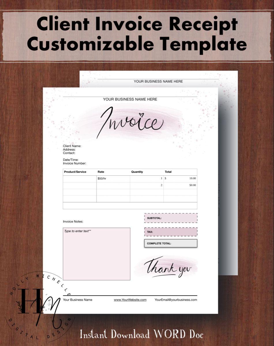 Invoice Template Customizable Watercolor Design In 2021 Invoice Template Business Template Templates