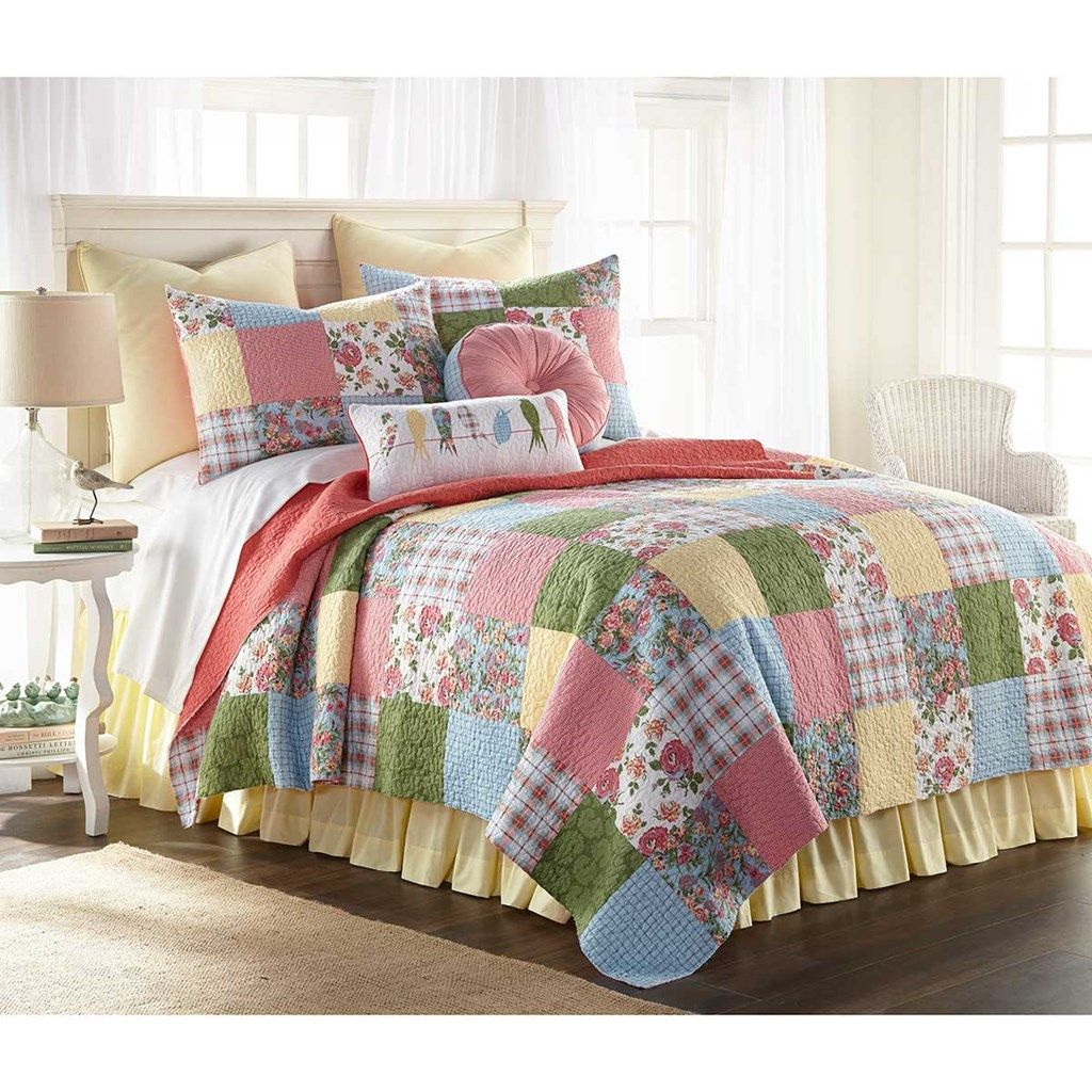 Sunny Patchwork Quilt King Cracker Barrel Old Country Store Bedding Sets Quilt Sets Cotton Quilt Set