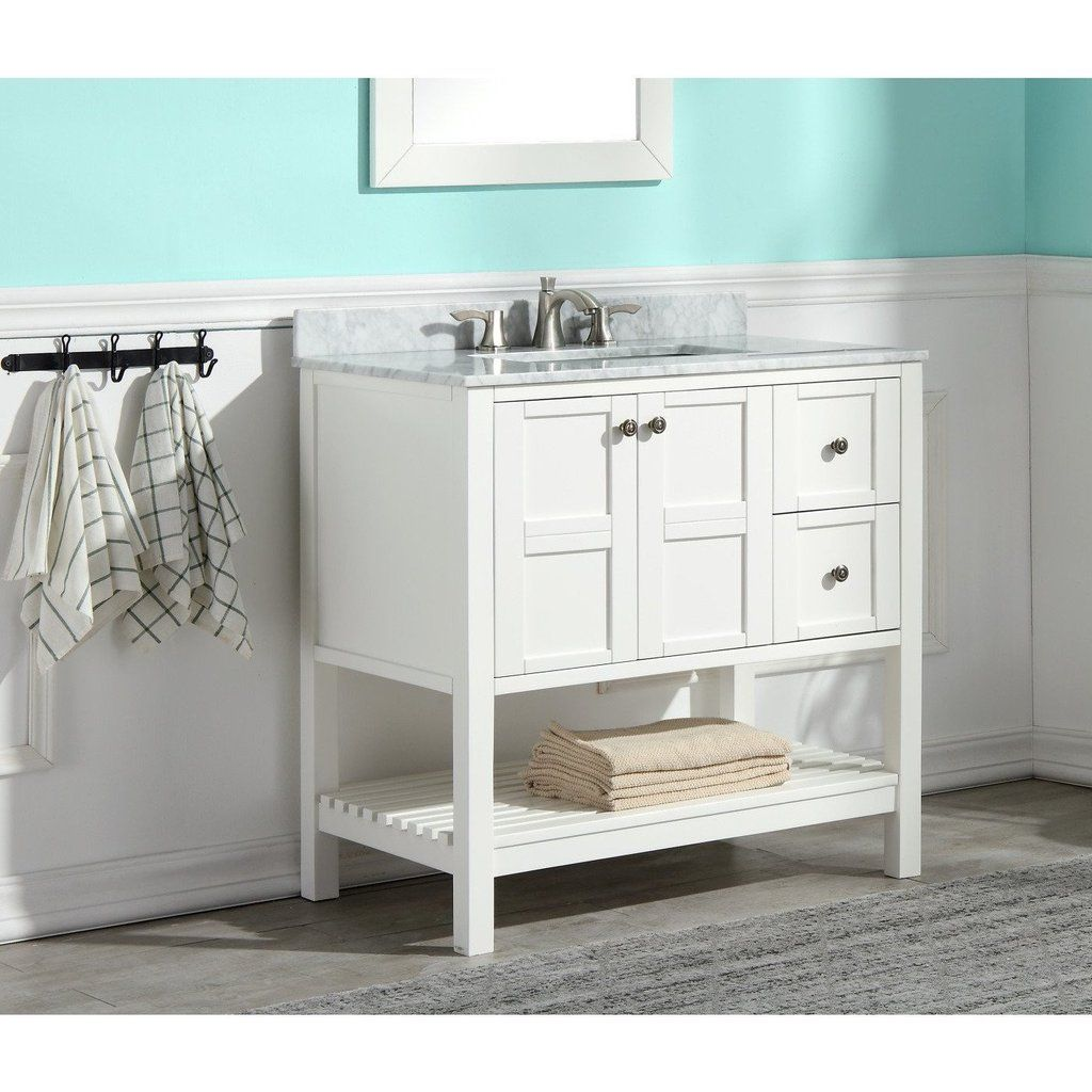 Anzzi Montaigne 30 X 35 Rich White Bathroom Vanity Set V Mgg011 30 With Images White Vanity Bathroom Vanity Set White Bathroom