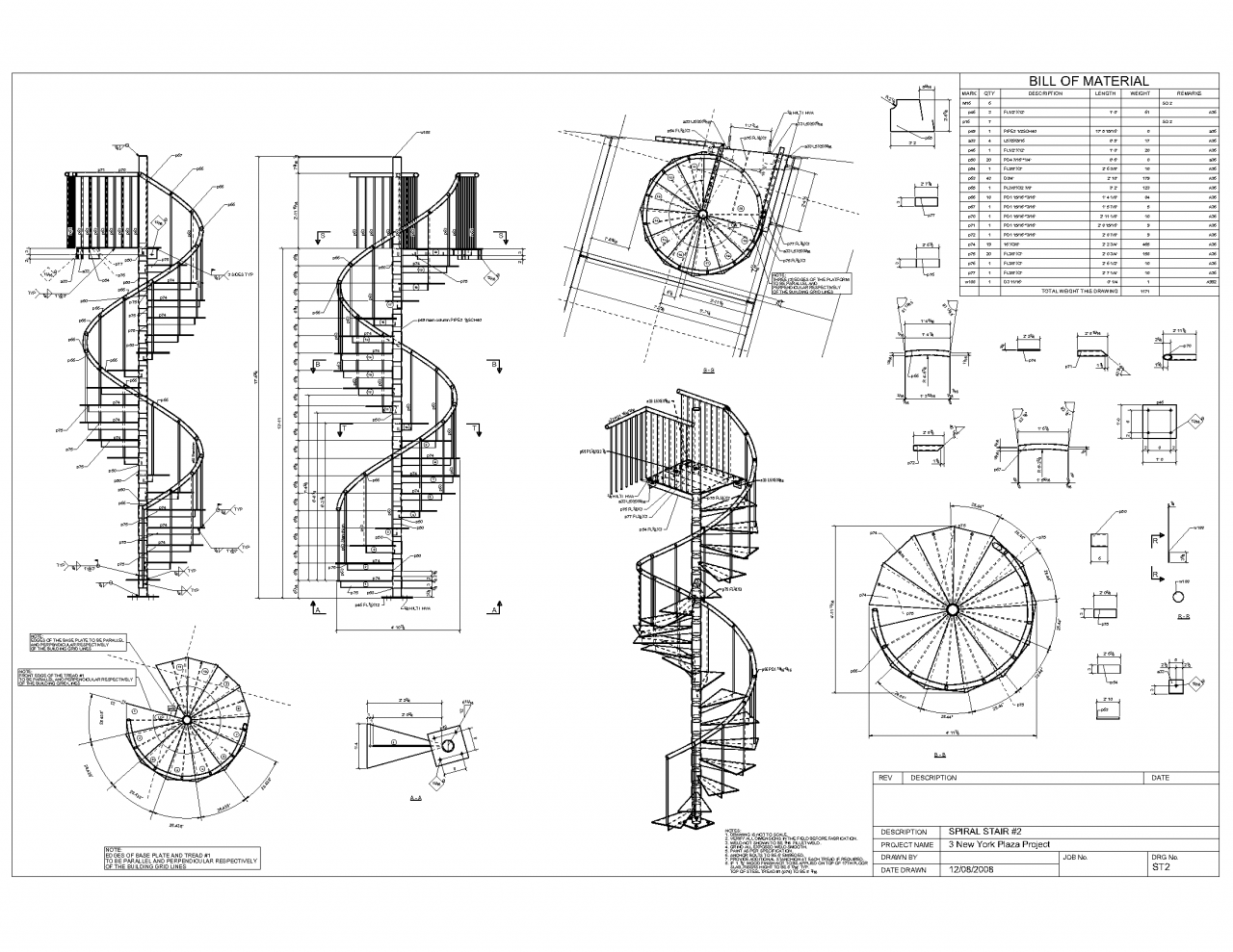 for Spiral stair plans