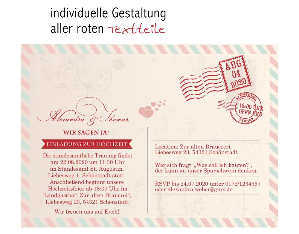 Details Zu Einladungskarten Zur Hochzeit Als Postkarte Im Usairmaildesign Einladung Einladungskarten Postk Einladungen Hochzeit Einladungen Postkarten Hochzeit