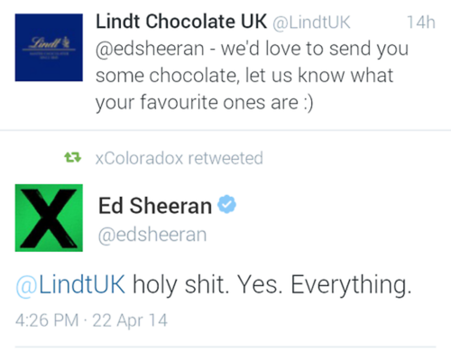 Ed Sheeran's Twitter. ... again. Because, look at it.