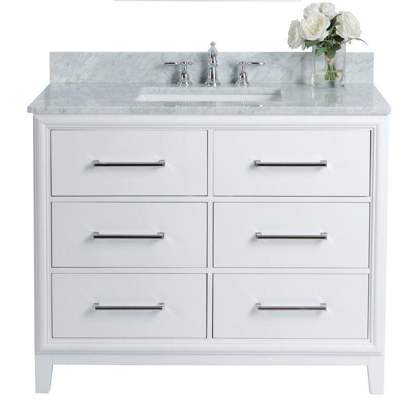 Burnsdale 42 Single Bathroom Vanity Marble Vanity Tops Single