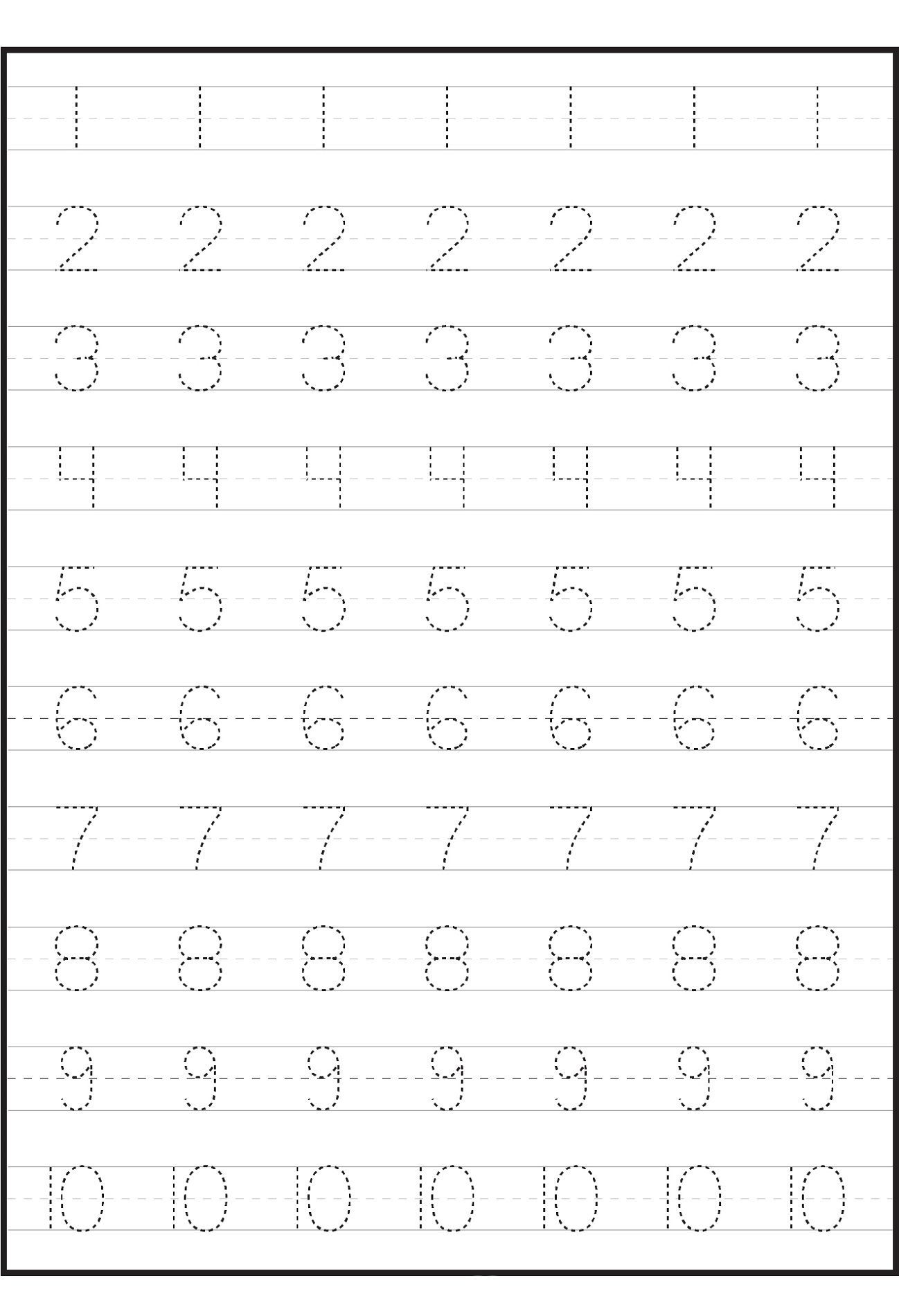 Number Trace Worksheets In