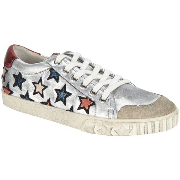 Ash Majestic Star Motif Trainers, Silver/Multi ($220) ❤ liked on Polyvore featuring shoes, sneakers, low sneakers, star shoes, ash shoes, white shoes and canvas flat sneakers