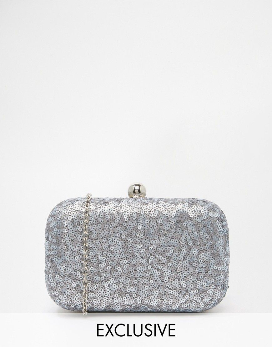 724d49169fe Image 1 of Chi Chi London Box Clutch Bag in All Over Grey Sequin ...
