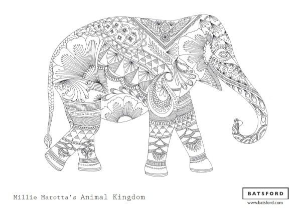 Free Elephant Coloring Page From Millie Marottas Animal Kingdom