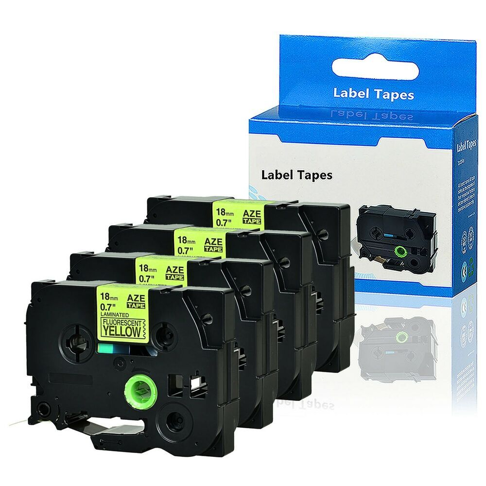 Sponsored Ebay 4pk Black On Fluo Yellow Label Tape Tz C41 0 7 For Brother P Touch St 1150 St 5 Labels Label Maker Tape Ebay