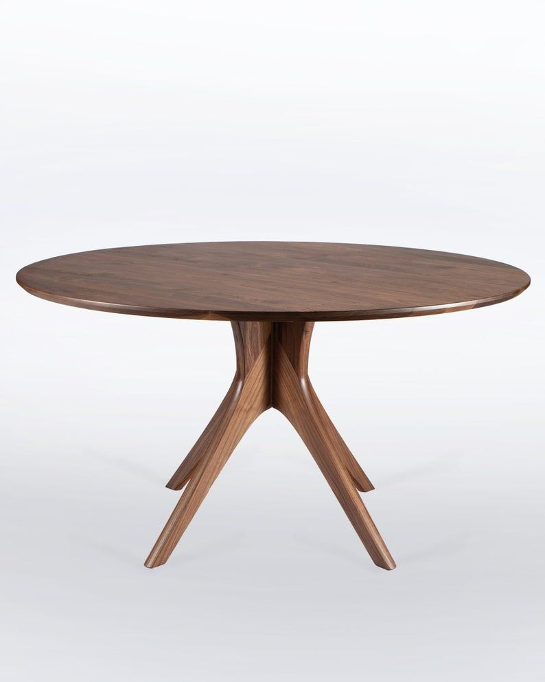 Large Round Dining Table In Solid Walnut With Mid Century Modern Pedestal Base Seats Up To 8 Kapok With Images Large Round Dining Table Round Dining Table Dining Table