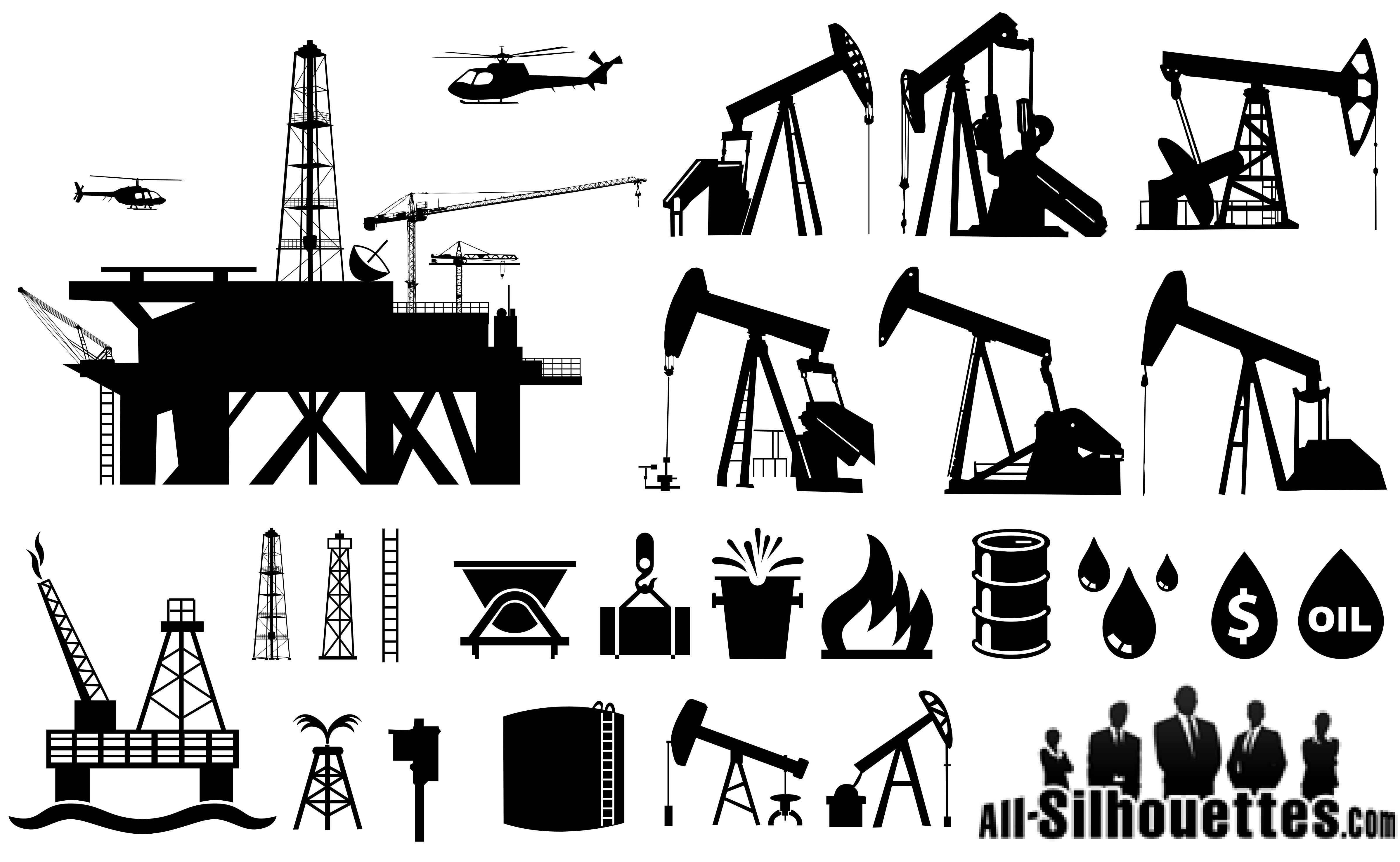 oilfield silhouettes vector eps free download logo icons
