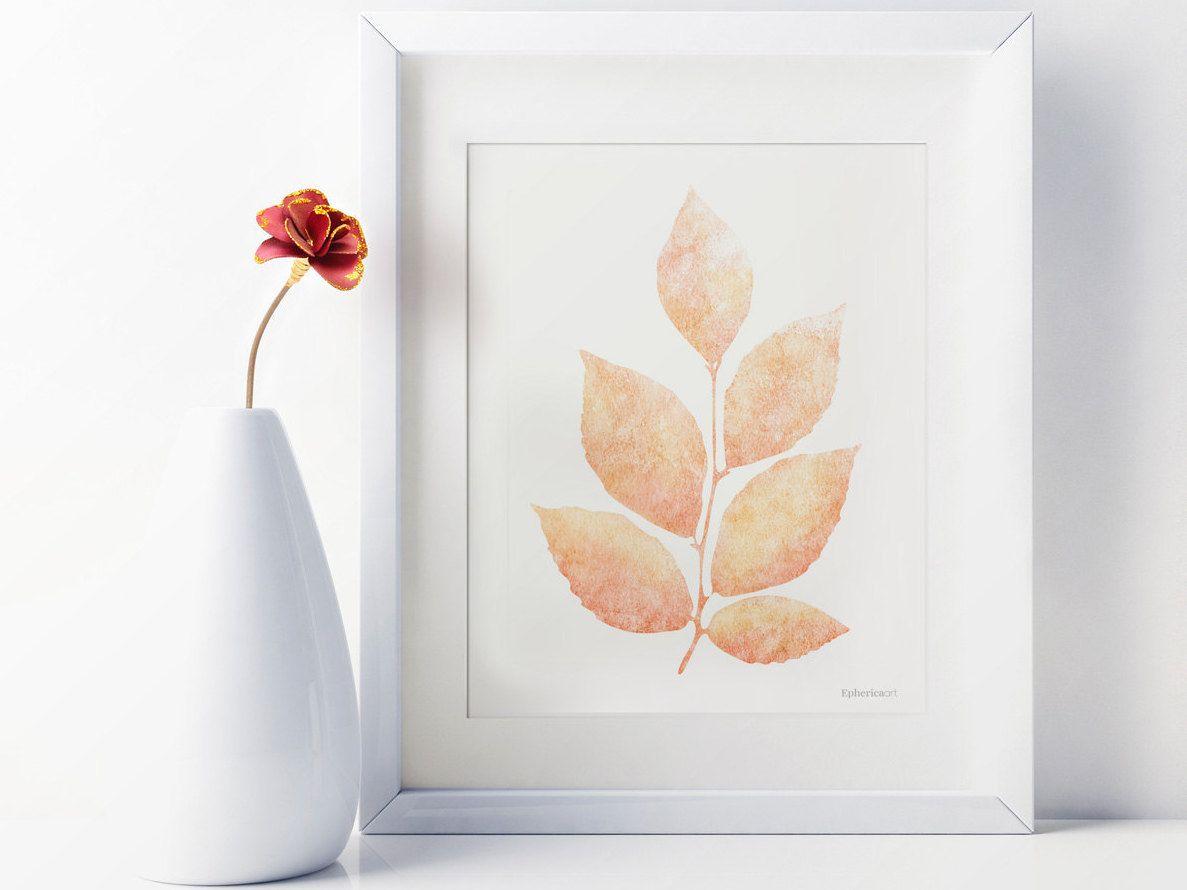 Light Coral Walls Apricot Wall Decor Peach Kitchen Decor Light Orange Leaf