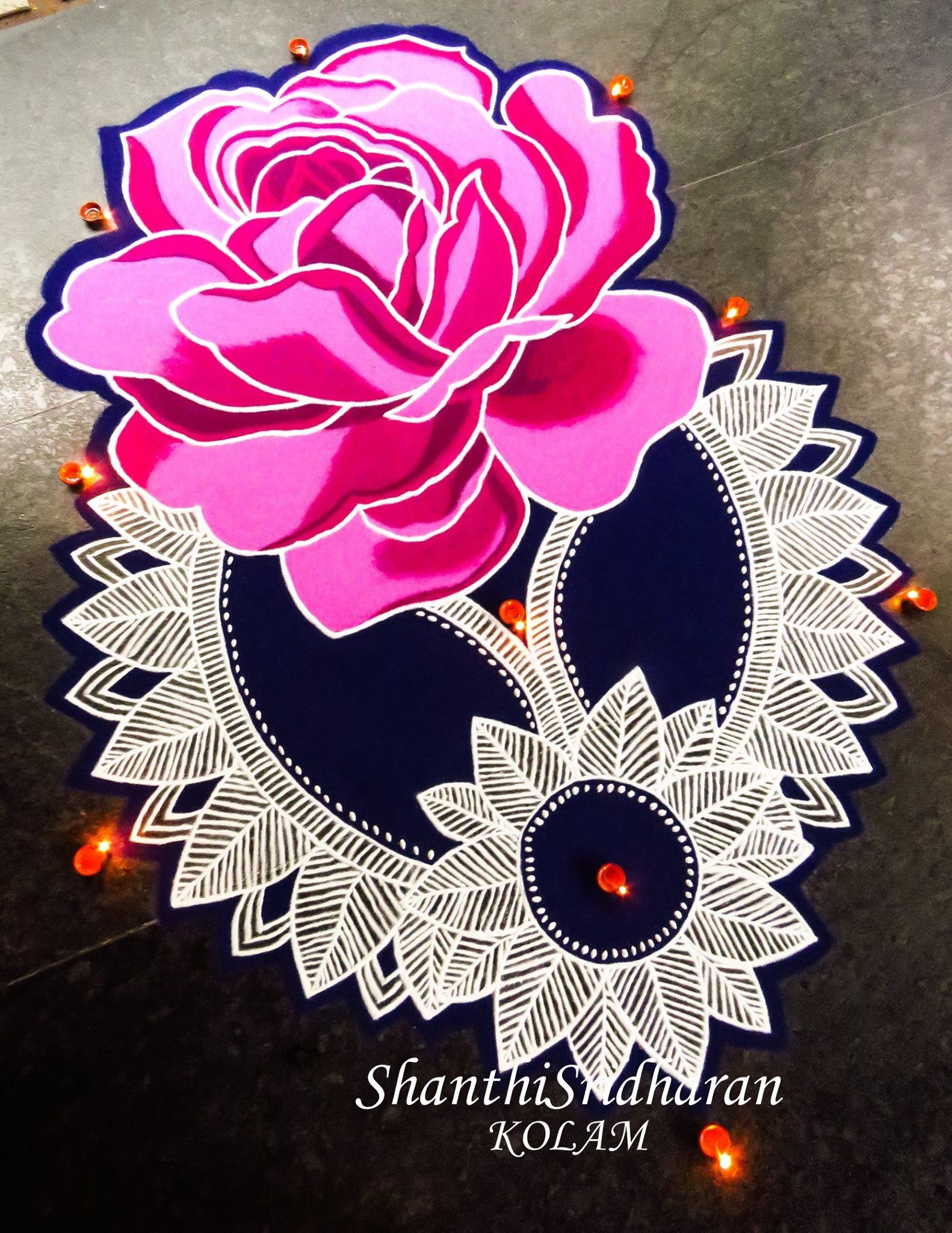 Rose Rangoli Rangoli designs, Rangoli border designs