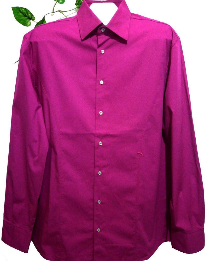 Packard Dark Pink Purple Mens Soft Cotton Slim Fit Dress Shirt Size