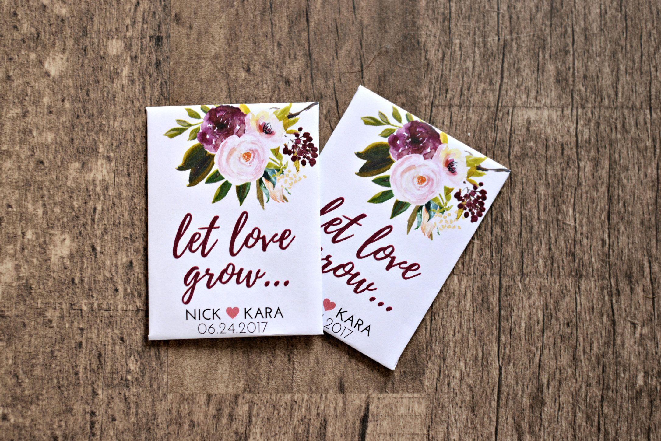Burgundy Plum Let Love Grow Custom Seed Wedding Favors 50 Count