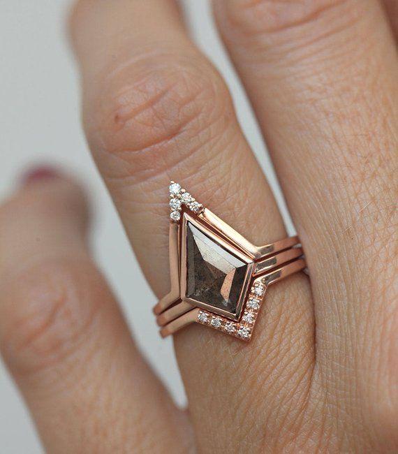 Grey Salt Pepper Diamond Ring With V Diamond Band, Diamond Engagement Ring Set, Natural Diamond Ring Grey