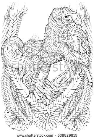 Racing Horse In Flowers Adult Anti Stress Coloring Page Hand