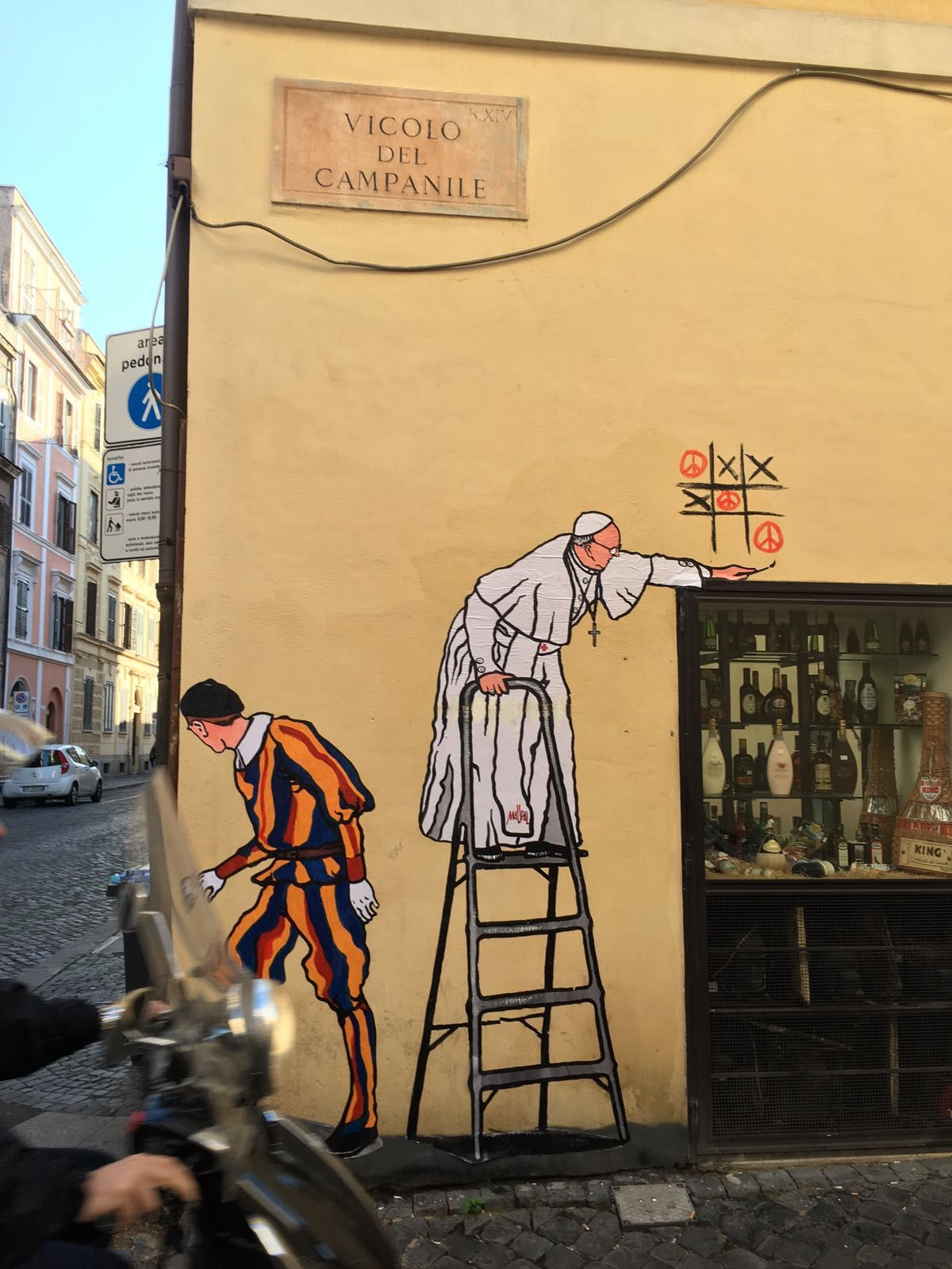 Theres new graffiti art depicting pope francis in rome from street artist maupal mauro pallotta the same person who created the famous super pope