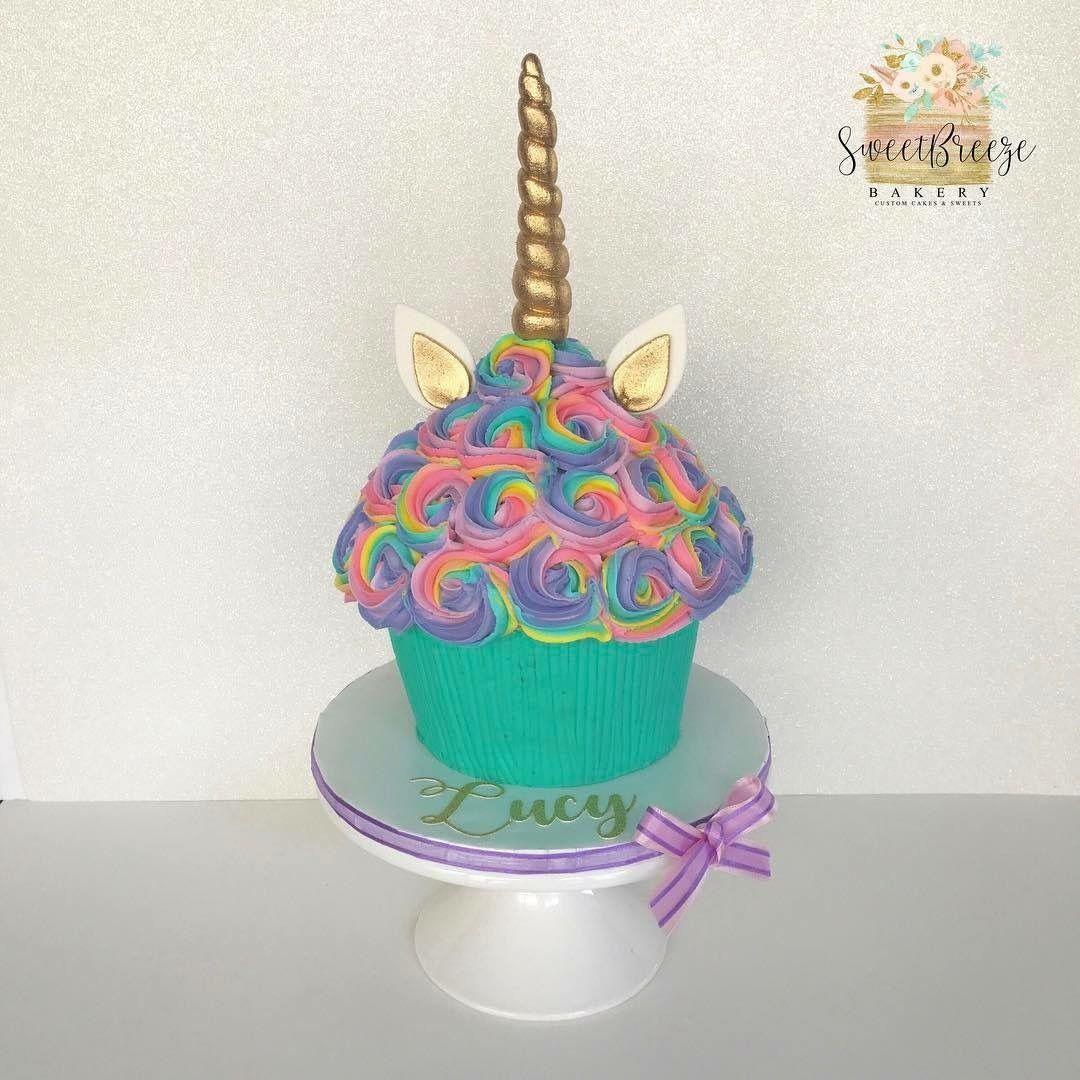 Rainbow unicorn giant cupcake cake. sweetbreezebakery