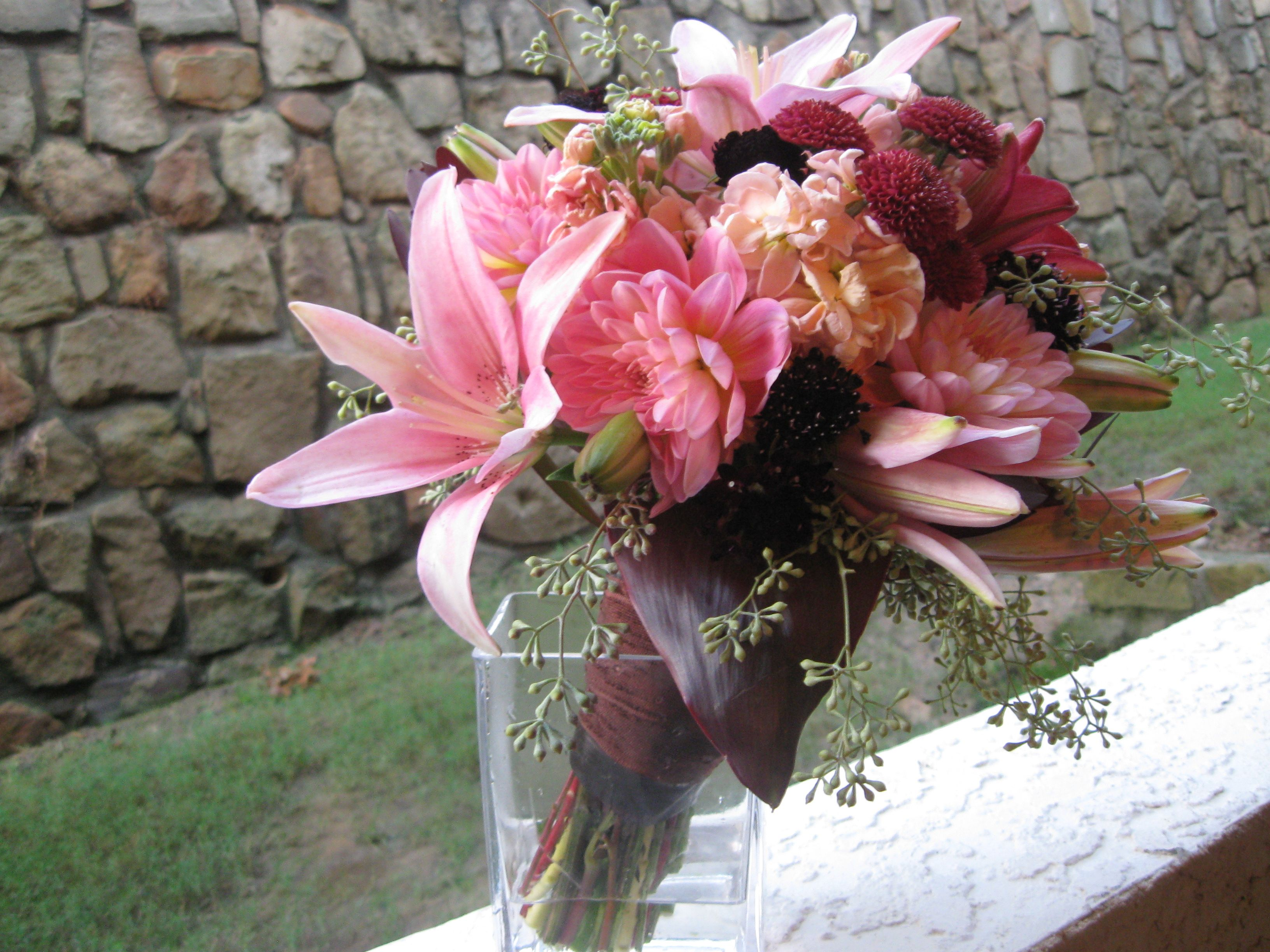 Dahlias Oriental Lilies Button Mums Oriental Lily Bride Bouquets Lily