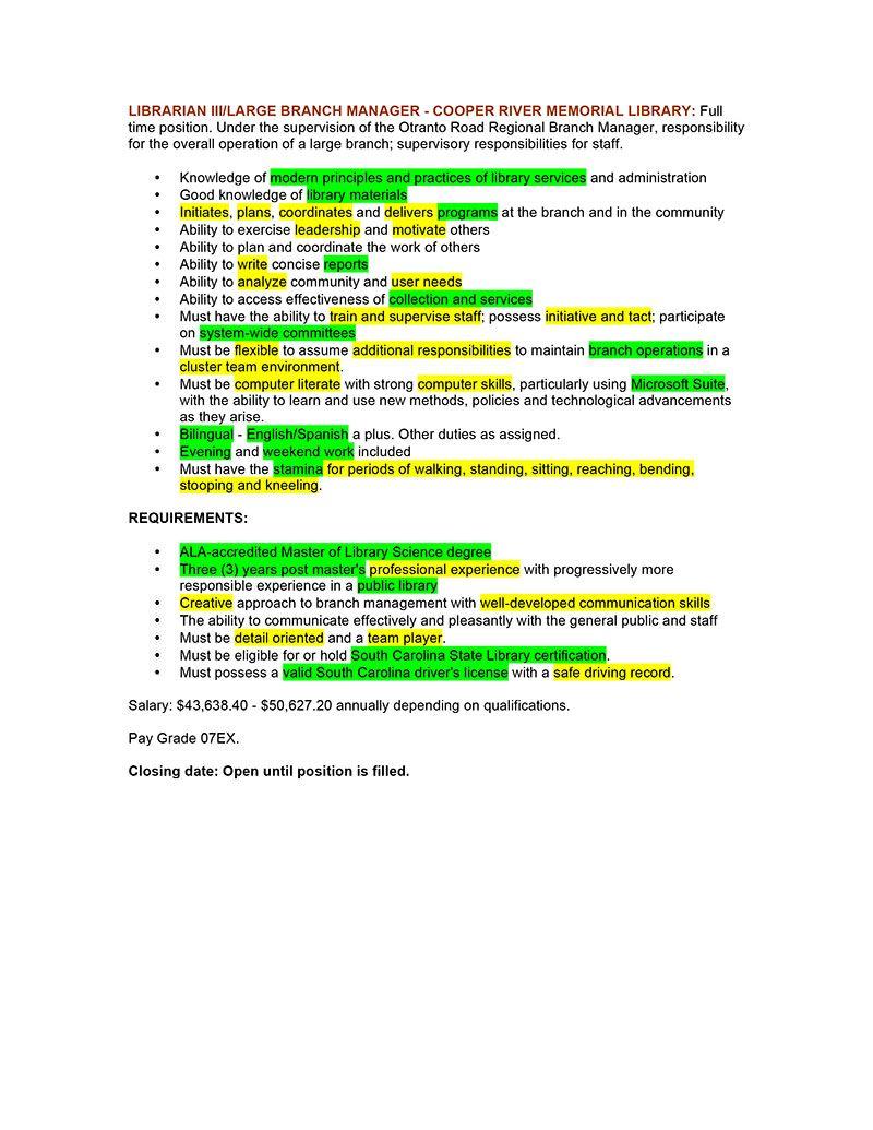 LIBRARIAN III Job Description ATS Highlights Librarian