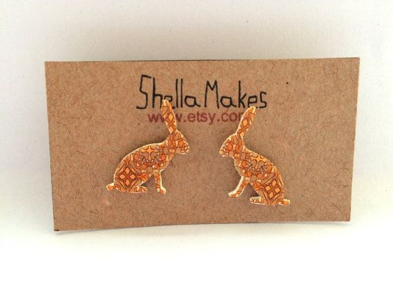 Ethnic rabbit stud earrings vintage style stud by ShellaMakes