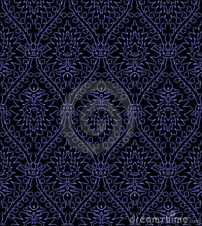 A Dark Blue Victorian Wallpaper Pattern Textured Background Tiled