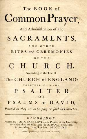 Title Page Of The Book Of Common Prayer Of 1662 Printed By John