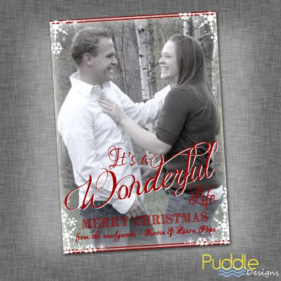 It S A Wonderful Life Newly Wed Photo Christmas Card 1st Cards