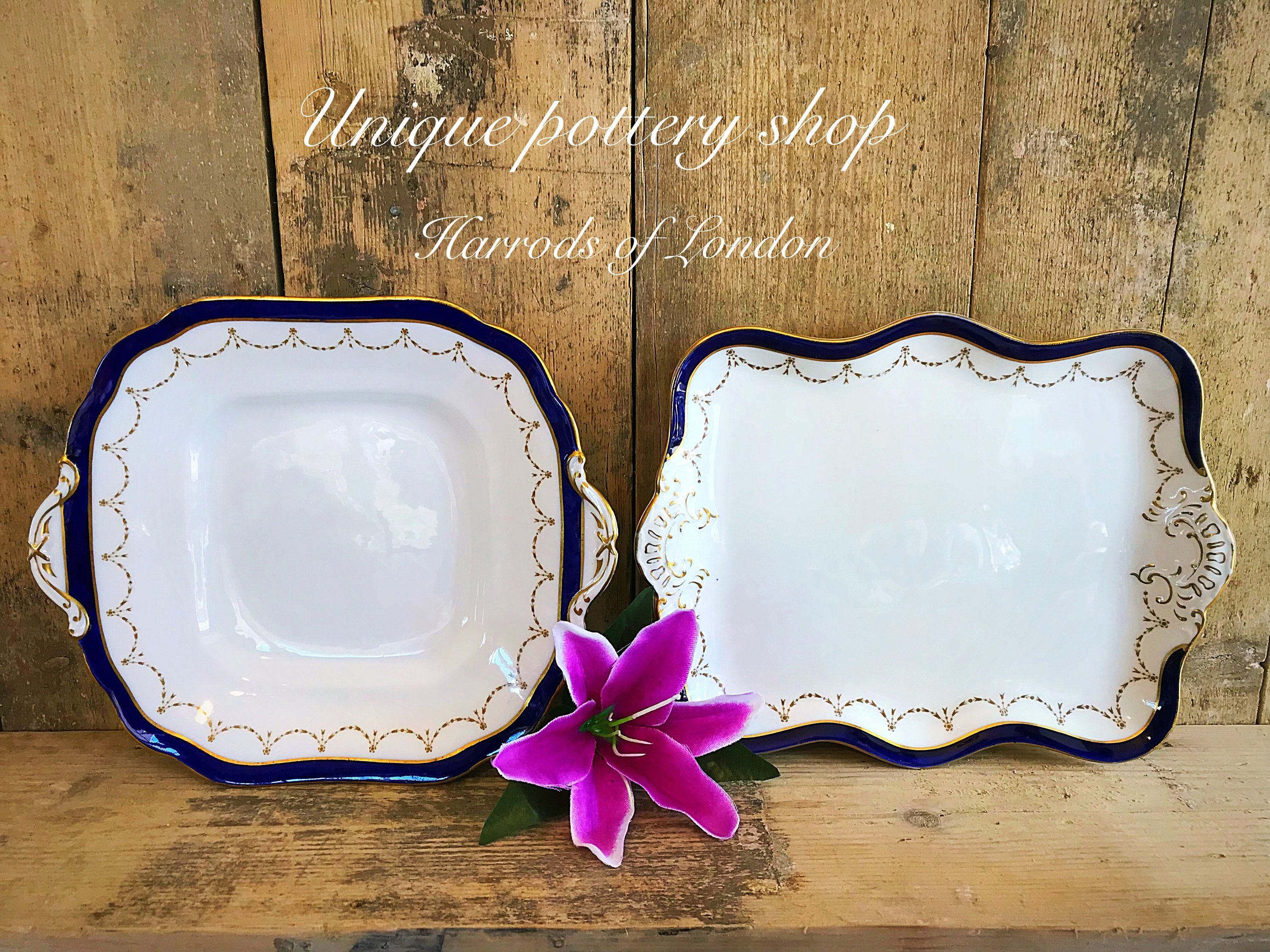 A Stunning Pair Of English Antique Dessert Cake Pieces From Harrods London English Antiques Floral Bowls Unique Pottery