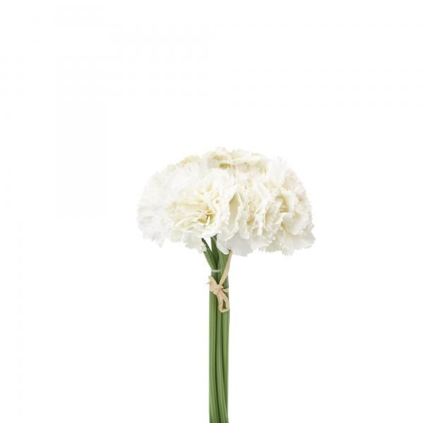 Artificial Carnation Flower Bouquet - 24 Bunches - White