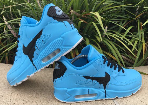 Details about Nike Big Kids Air Max 90 Leather Custom Painted Dripping Sneakers Size 5.5 Y