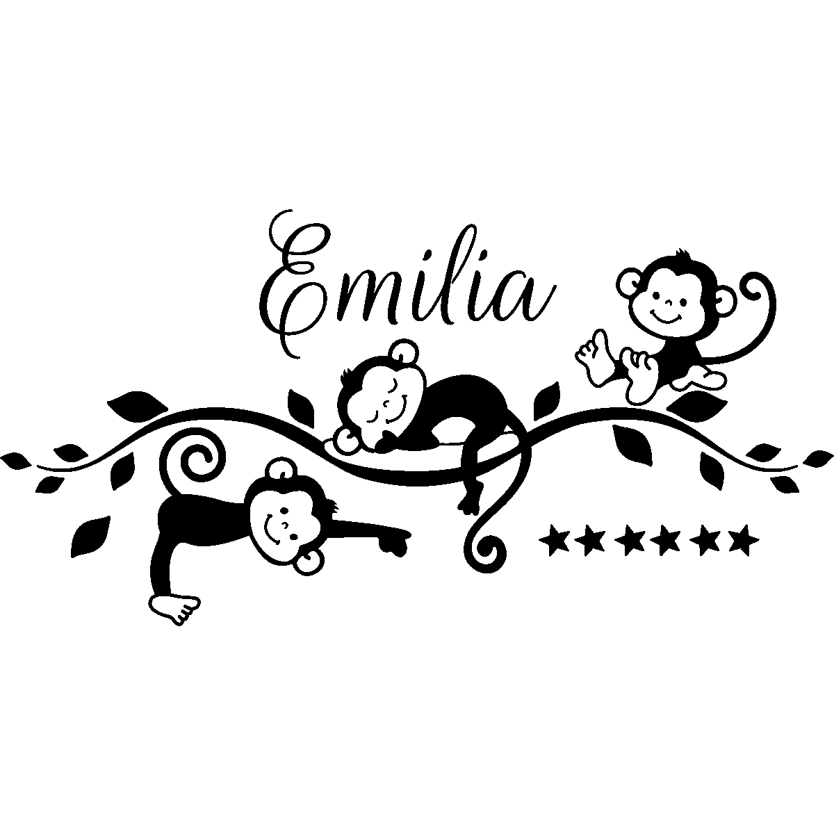 sticker pr nom personnalis singes jungle personalised stickers monkey and silhouettes. Black Bedroom Furniture Sets. Home Design Ideas