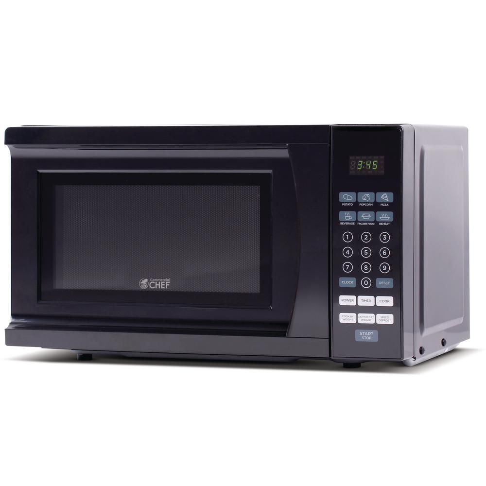 Commercial Chef 0 7 Cu Ft Countertop Microwave Black Chm770b The Home Depot In 2020 Countertop Microwave Countertop Microwave Oven Microwave