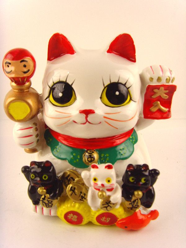 Maneki Neko Ceramic Lucky Cat Coin Bank Ebay