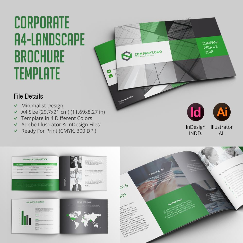 corporate a4 landscape brochure template for 9 only professional