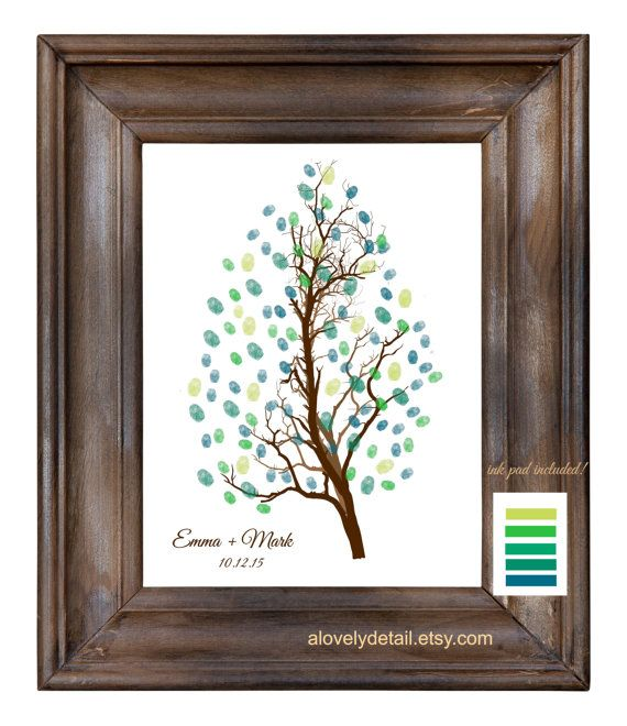 Thumbprint Custom Wedding Tree guest book poster by alovelydetail
