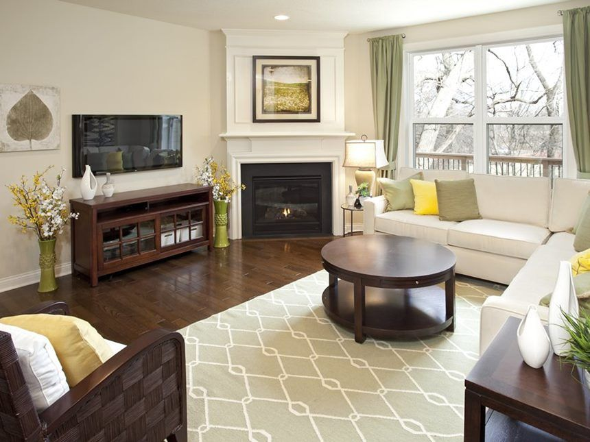 Simple Living Room With Corner Fireplace | Comfy living ...