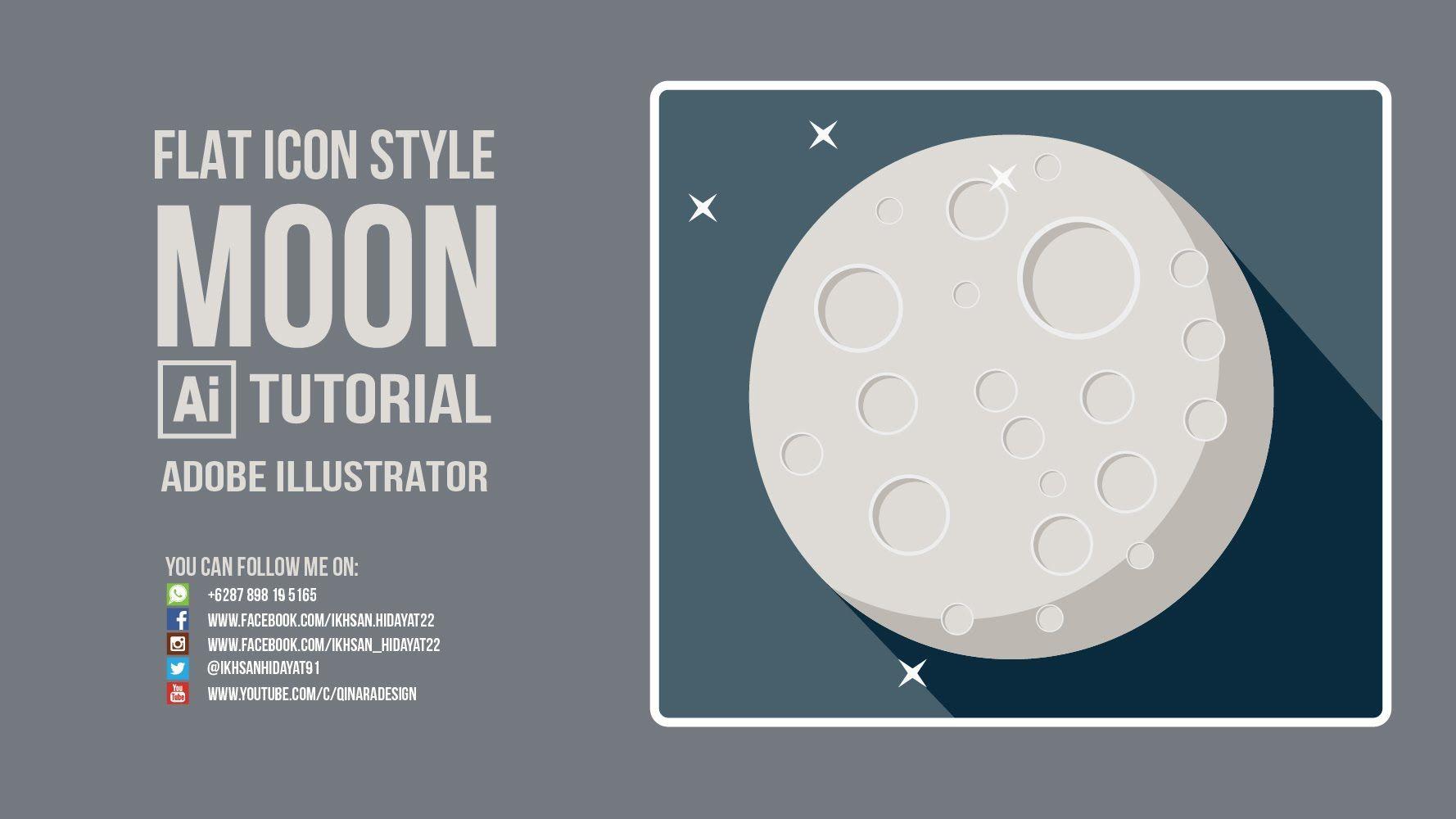 Flat Style Tutorial Moon Flat Icon Adobe Illustrator Cc 2015 Illustrator Tutorials Adobe Illustrator Tutorial