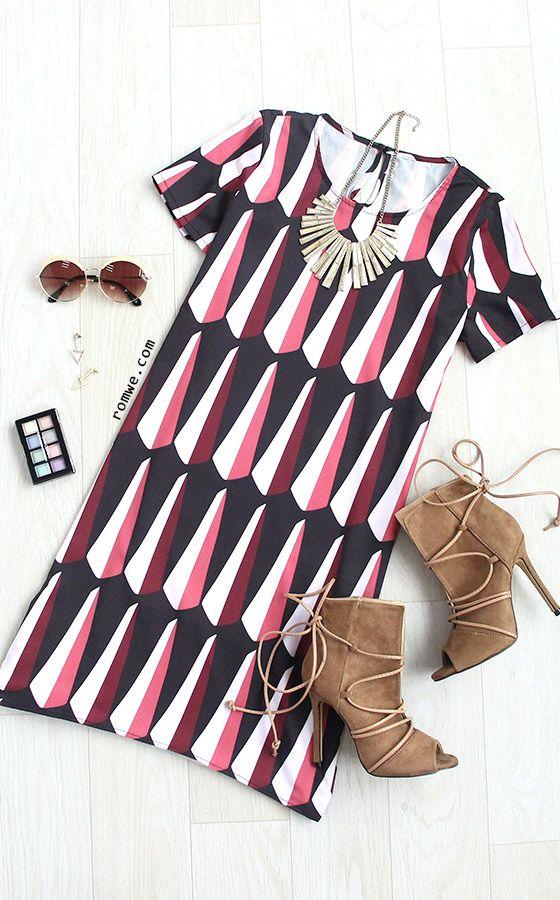 Multicolor Print Short Sleeve High Low Shift Dress