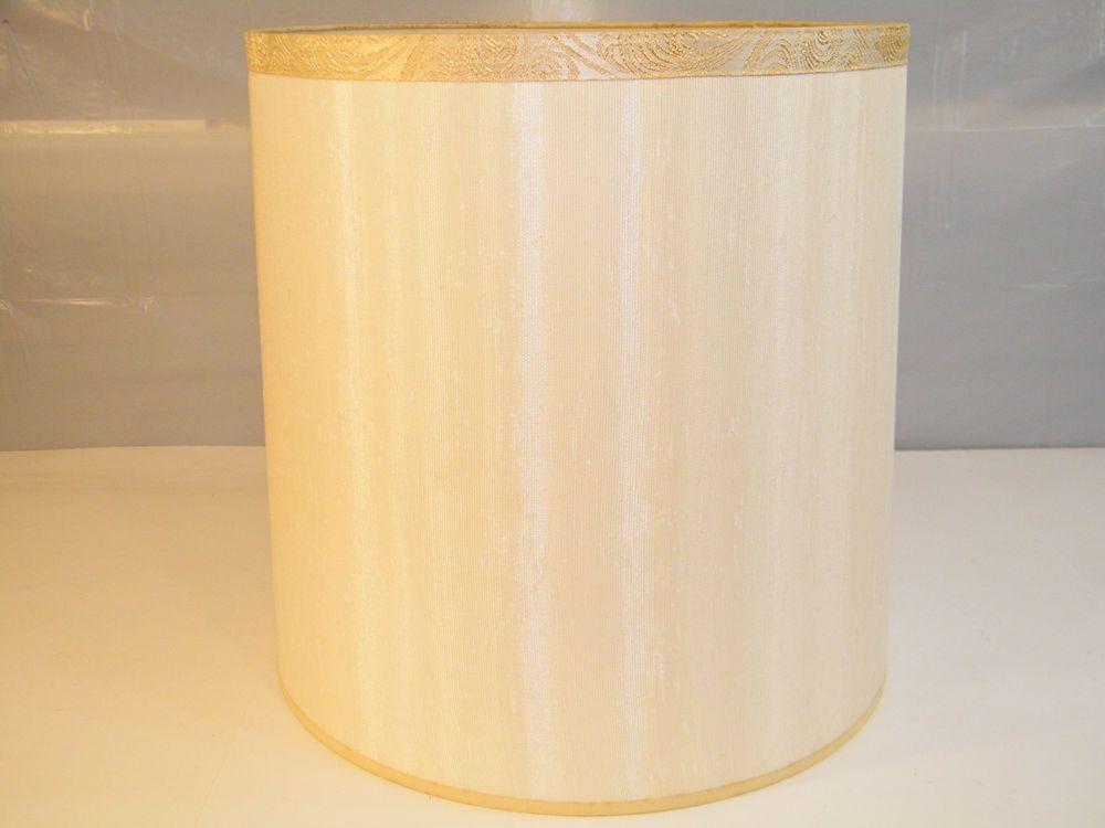 VINTAGE 1960's ANTIQUE CREAM WHITE LAMP SHADE w/ GOLD TRIM HARP ...