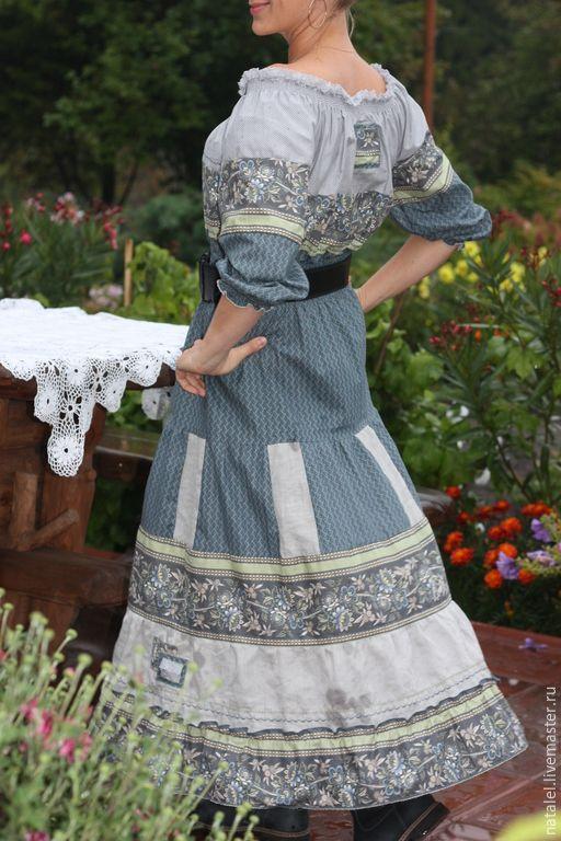 """Купить Платье """"Эдельвейс"""" , бохо стиль, кантри, фольклорный стиль - серый, цветочный, платье летнее"""