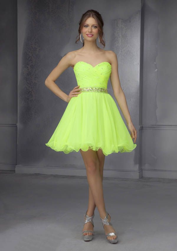 strapless sweetheart neon lime green beaded short homecoming dress ...