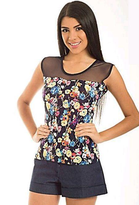 7dc3fa1802b3 blusas con tela de estampada y chifon - Buscar con Google   camisas ...
