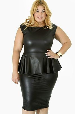 Plus Size Popuar Fashion Faux Leather Open Back Ruffle Peplum Pencil ...