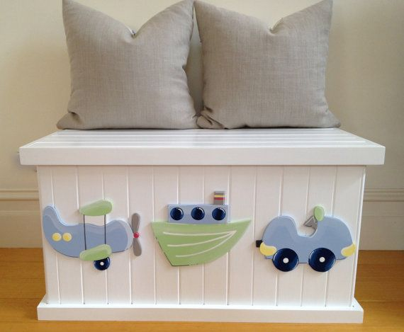Toy Box Transport Blue Green Boys Toy Box By Littlebigdesignsshop Wooden Toy Boxes Boys Toy Box Childrens Toy Boxes