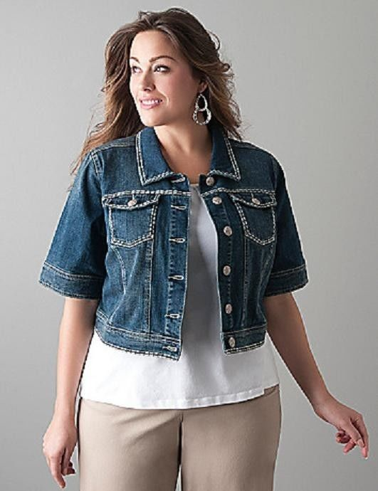 NWT Lane Bryant Cropped Denim Jacket Size 24 NEW Jean Shrug Womens ...