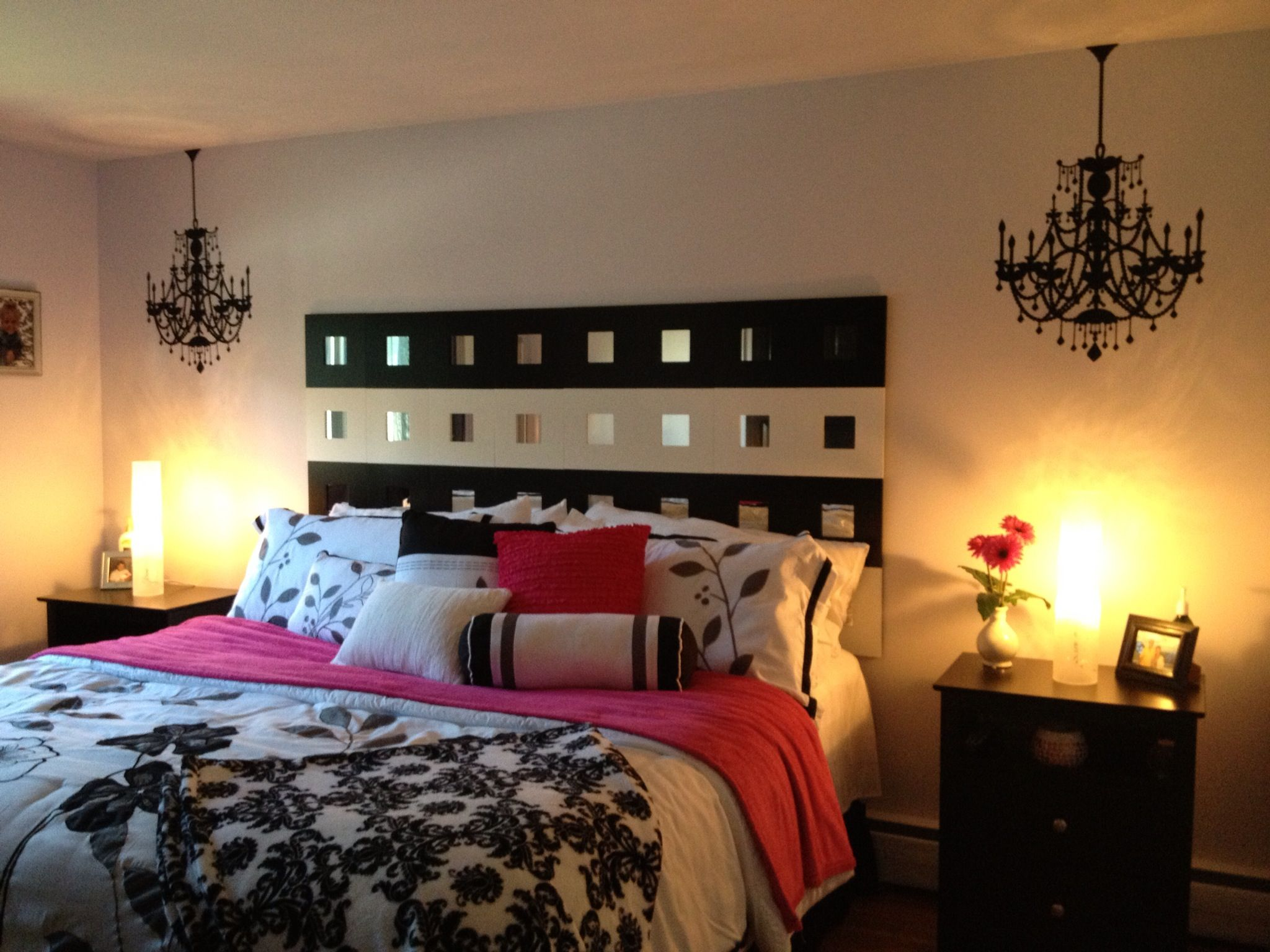 black white hot pink bedroom for the home