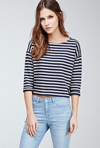 Striped Boat neck Top | Forever 21 - 2000100985